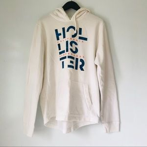 Hollister Logo Graphic White Pullover Hoodie